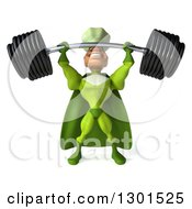 Clipart Of A 3d Green Caucasian Male Super Chef Lifting A Heavy Barbell Royalty Free Illustration
