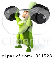 Clipart Of A 3d Green Caucasian Male Super Chef Facing Left And Lifting A Heavy Barbell Royalty Free Illustration