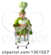 Clipart Of A 3d Green Caucasian Male Super Chef Pushing An Empty Shopping Cart Royalty Free Illustration