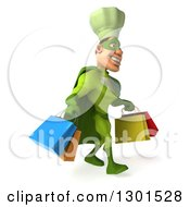 Clipart Of A 3d Green Caucasian Male Super Chef Walking To The Right With Shopping Bags Royalty Free Illustration