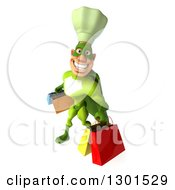 Clipart Of A 3d Green Caucasian Male Super Chef Smiling Looking Up And Carrying Shopping Bags Royalty Free Illustration