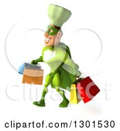 Clipart Of A 3d Green Caucasian Male Super Chef Walking To The Left With Shopping Bags Royalty Free Illustration