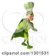 Clipart Of A 3d Green Caucasian Male Super Chef Walking To The Right Royalty Free Illustration