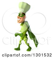 Clipart Of A 3d Green Caucasian Male Super Chef Walking To The Left Royalty Free Illustration
