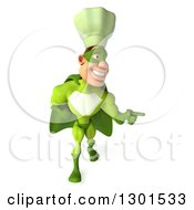 Clipart Of A 3d Green Caucasian Male Super Chef Walking And Pointing To The Left Royalty Free Illustration
