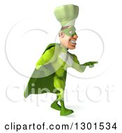 Clipart Of A 3d Green Caucasian Male Super Chef Walking And Pointing Left Royalty Free Illustration