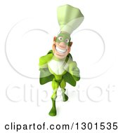 Clipart Of A 3d Green Caucasian Male Super Chef Walking And Pointing Royalty Free Illustration