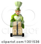 Clipart Of A 3d Happy Green Caucasian Male Super Chef Moving Boxes On A Dolly Royalty Free Illustration