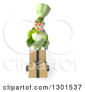 Clipart Of A 3d Green Caucasian Male Super Chef Moving Boxes On A Dolly Royalty Free Illustration