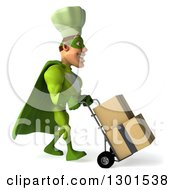 Clipart Of A 3d Green Caucasian Male Super Chef Facing Right And Moving Boxes On A Dolly Royalty Free Illustration