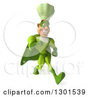 Clipart Of A 3d Green Caucasian Male Super Chef Speed Walking To The Right Royalty Free Illustration