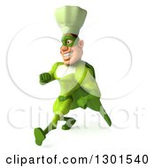 Clipart Of A 3d Green Caucasian Male Super Chef Speed Walking To The Left Royalty Free Illustration