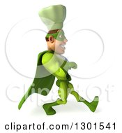 Clipart Of A 3d Green Caucasian Male Super Chef Speed Walking To The Right 2 Royalty Free Illustration