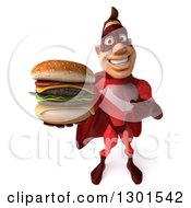 Clipart Of A 3d Caucasian Red Super Hero Man Pointing To And Holding Up A Double Cheeseburger Royalty Free Illustration by Julos