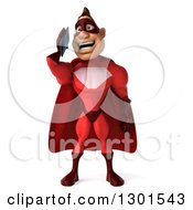 Clipart Of A 3d Caucasian Red Super Hero Man Talking On A Smart Cell Phone Royalty Free Illustration by Julos