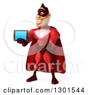 Clipart Of A 3d Caucasian Red Super Hero Man Facing Slightly Let Holding And Presenting A Tablet Royalty Free Illustration by Julos