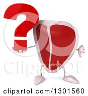 Clipart Of A 3d Beef Steak Character Holding A Question Mark And Thumb Down Royalty Free Illustration