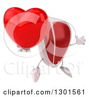 Clipart Of A 3d Beef Steak Character Facing Slightly Right Jumping And Holding A Heart Royalty Free Illustration by Julos