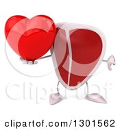 Clipart Of A 3d Beef Steak Character Holding A Heart And Thumb Down Royalty Free Illustration by Julos