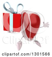 Clipart Of A 3d Beef Steak Character Facing Slightly Right Jumping And Holding A Gift Royalty Free Illustration