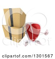 Clipart Of A 3d Beef Steak Character Holding Up A Thumb And Boxes Royalty Free Illustration