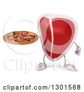 Clipart Of A 3d Beef Steak Character Holding A Pizza Royalty Free Illustration