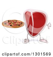 Clipart Of A 3d Beef Steak Character Holding A Pizza And Thumb Down Royalty Free Illustration