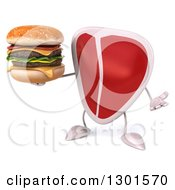 Clipart Of A 3d Beef Steak Character Shrugging And Holding A Double Cheeseburger Royalty Free Illustration