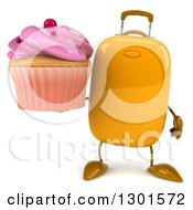 Clipart Of A 3d Yellow Suitcase Character Holding A Pink Frosted Cupcake Royalty Free Illustration