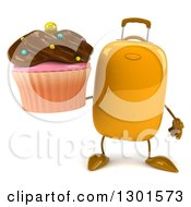 Clipart Of A 3d Yellow Suitcase Character Holding A Chocolate Frosted Cupcake Royalty Free Illustration