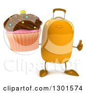 Clipart Of A 3d Yellow Suitcase Character Holding A Chocolate Frosted Cupcake And Thumb Up Royalty Free Illustration