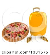 Clipart Of A 3d Yellow Suitcase Character Holding Up A Pizza Royalty Free Illustration