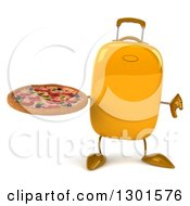 Clipart Of A 3d Yellow Suitcase Character Holding A Pizza And Thumb Down Royalty Free Illustration