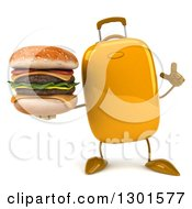 Clipart Of A 3d Yellow Suitcase Character Holding Up A Finger And A Double Cheeseburger Royalty Free Illustration