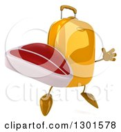 Clipart Of A 3d Yellow Suitcase Character Facing Slightly Right Jumping And Holding A Beef Steak Royalty Free Illustration
