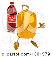 Clipart Of A 3d Yellow Suitcase Character Facing Slightly Right Jumping And Holding A Soda Bottle Royalty Free Illustration