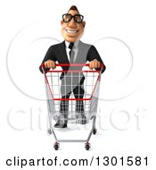 Clipart Of A 3d Bespectacled Macho White Businessman Pushing An Empty Shopping Cart Royalty Free Illustration