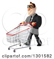 Clipart Of A 3d Bespectacled Macho White Businessman Facing Slightly Left And Pushing An Empty Shopping Cart Royalty Free Illustration
