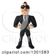 Clipart Of A 3d Macho White Businessman Wearing Shades Royalty Free Illustration