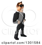 Clipart Of A 3d Macho White Businessman Facing Right And Wearing Shades Royalty Free Illustration