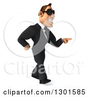 Clipart Of A 3d Macho White Businessman Wearing Shades Walking And Pointing Right Royalty Free Illustration