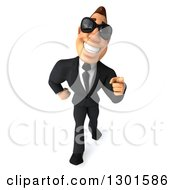Clipart Of A 3d Macho White Businessman Wearing Shades Walking And Pointing Royalty Free Illustration