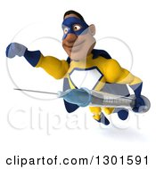 Clipart Of A 3d Muscular Black Male Super Hero In A Yellow And Blue Suit Flying With A Syringe Royalty Free Illustration