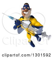 Clipart Of A 3d Muscular Black Male Super Hero In A Yellow And Blue Suit Flying And Holding A Syringe Royalty Free Illustration