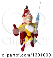 Clipart Of A 3d Muscular Yellow And Red Caucasian Super Hero Man Holding Up A Thumb And Giant Syringe Royalty Free Illustration