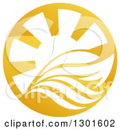 Clipart Of A Shiny Golden Circle Of A Yacht Waves And Sun Rays Royalty Free Vector Illustration by AtStockIllustration