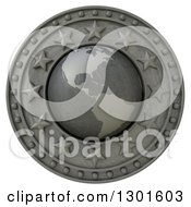 Clipart Of A 3d Metal American Continent Globe Shield With Stars On White Royalty Free Illustration