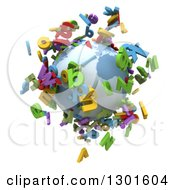 3d Planet Earth With Colorful Flying Alphabet Letters On White