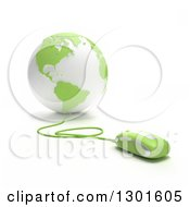 Clipart Of A 3d Green And White Globe Wired To A Computer Mouse Royalty Free Illustration