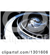 3d Earth In Chrome Orbit Spirals Over Black